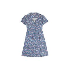 Herbaceous Ditsy Jersey Collar Detail Dress ($71) ❤ liked on Polyvore featuring dresses and blue dress