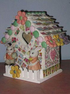 Bunny Bird House Shabby Mosaic