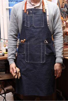 餐廳咖啡店圍裙牛仔布長圍裙男女士真皮繪畫工作圍裙訂制可加LOGO