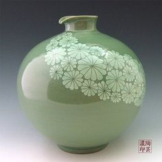 Korean Celadon Glaze Sgraffito White Chrysanthemum Flower Design Green Porcelain Ceramic Pottery Kitchen Home Decor Decorative Round Globe Jar