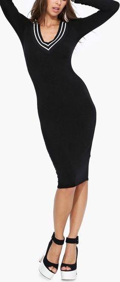 Sporty Long Sleeve V-neck Dress
