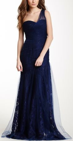 ML Monique Lhuillier One Shoulder Ruched Gown. I love the sparkles that look like stars in the night sky.