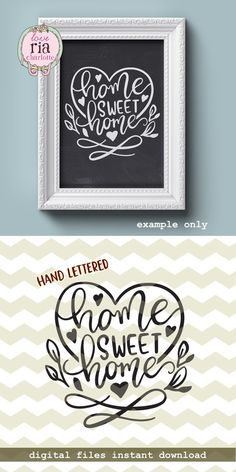 Home sweet home, hand lettered love beautiful home decor idea digital cut files, SVG, DXF studio3 instant download, vinyl decals