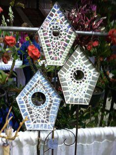 Broken china mosaic garden trellis