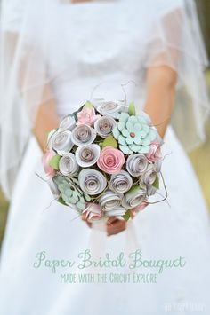 Look at this gorgeous pastel paper bridal bouquet. DIY to die for with great step by step instructions from Amy at The Happy Scraps