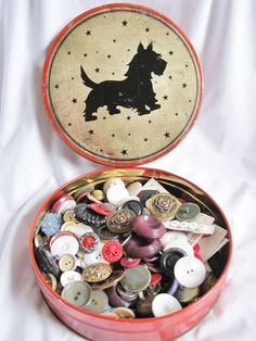 I Love This Button Box! I have so many Button Buttons...my Ol' Button Boy was my first Scottie.  He left a Button hole in my heart, that no amount of time can ever fill.