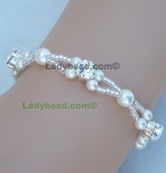 Rhinestone Pearl Bracelet White Pearl Bling Made in America