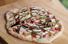 Pear & Gorgonzola pizza with fresh basil. Sooo incredibly good! Great with apple or pear, basil or arugula, fennel sausage, crisp bacon, or vegetarian!