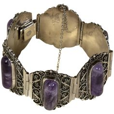Mexican Jewelry, Stone Cuts, Amethyst Stone, Sterling Silver Bracelets, Silver Color, Antiques, Purple, Jewellery, Vintage