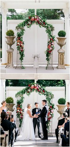 Romantic wedding ceremony, pink and red florals, wedding arbor ideas, topiaries, formal wedding, see the full wedding feature on borrowedandblue.com // Nicole Blumberg Photography