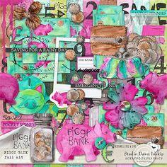 Piggy Bank Full Kit Fabulous artsy, full to bursting kit - are you the Bank of Mum and Dad... #piggybank #dawninskip #scrapbookgraphics #bankofmum #bankofdad #artsy #journal #scrapbook #handmade