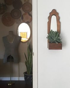 large vintage wooden bohemian wall hanging mirror planter box / wall shelf with mirror 1970s