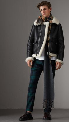 Shearling Aviator Jacket in Black - Men | Burberry United States