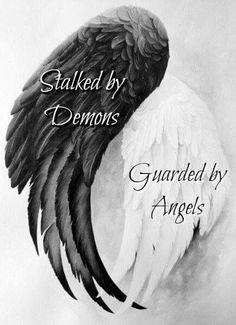 This fits my heart and mind in a way. The same disorder that suffocates the soul also strengthens it. You can't slay the demon without also slaughtering the angel. Body Art Tattoos, I Tattoo, Tatoos, Demon Tattoo, Raven Tattoo, My Demons, Angels And Demons, Dark Angels, Sister Tatto