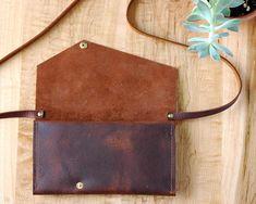 brown leather womens wallet  crossbody strap  clutch wallet