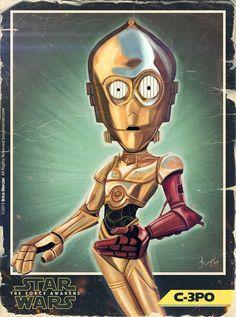 Caricature de C-3PO par Brice Mercier