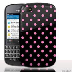 Coque BlackBerry Q10 | Design Pois Rose | Coque de protection arriere. #Polka #Rose #BlackBerryQ10