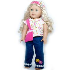 Jeans Outfit for American Girl Dolls: Pretty in Petals Lounge and Fun Jeans Set