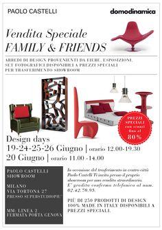 19, 20, 24, 25 e 26 giugno: vendita speciale showroom Paolo Castelli a Milano