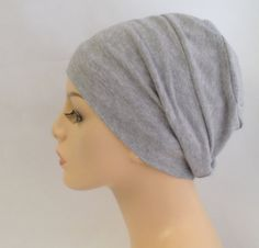 Chemo Hat, Sleep Hat, Alopecia Cap, Cloche, Scarf Liner, Slouch Hat, Sweatshirt Gray, Heather Gray, Bamboo Knit on Etsy, $20.00