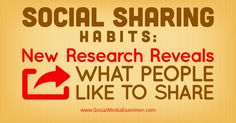 nice Social Sharing Habits: New Research Reveals What People Like to Share | Social media Social Media Articles Check more at http://sitecost.top/2017/social-sharing-habits-new-research-reveals-what-people-like-to-share-social-media-social-media-articles/