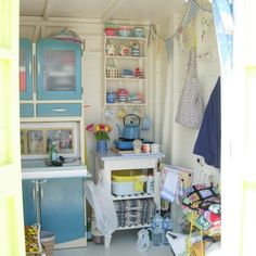 Sheds' Are Women's Perfect Response To The Man Cave (Photos)You can find Sheds and more on our website.Sheds' Are Women's Perfect Response To The Man Cave (Photos) Beach Hut Interior, Shed Interior, Interior Ideas, Interior Design, Craft Shed, She Sheds, Play Houses, Bungalow, Small Spaces