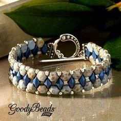 Czech honeycomb bracelet with DiamonDuos and size 8/0 Miyuki seed beads. Free PDF ~ Seed Bead Tutorials