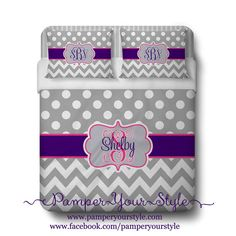 Polka dot and Chevron Duvet with 2 Matching Shams - Purple, Pink and Gray Monogrammed Bedding - Personalize with Name or Monogram