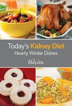 Today's Kidney Diet – Hearty Winter Dishes Davita Recipes, Kidney Recipes, Healthy Recipes, Free Recipes, Recipies, Healthy Kidney Diet, Healthy Eating, Kidney Health, Healthy Kidneys