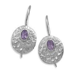 Oxidized Oval Amethyst Wire Earrings