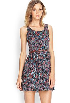 Floral Print Dress | FOREVER21 - 2000061083 (Black/Multi) $22.80