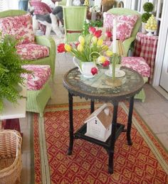 green and pink porch