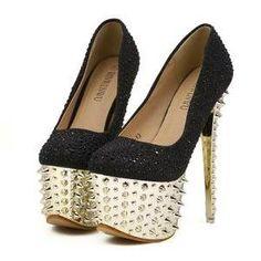 b94206e95206 Black Rivets Design High Heel Platform Shoes Black High Heels