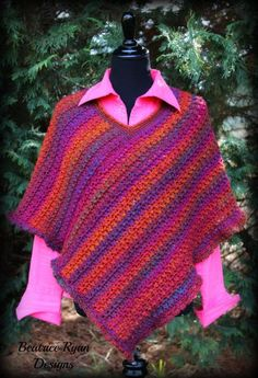 Padrão esforço Poncho grátis Crochet