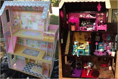 Converted her old dollhouse into a funky Monster High house over the weekend thanks to ideas from Pinterest!