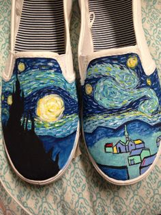 Painted shoes Painted Shoes, Slip On, Night, Nails, Boots, Sneakers, Painting, Clothes, Beauty