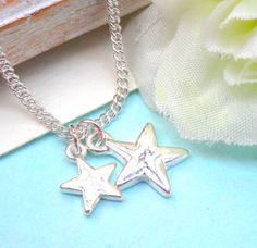 Silver Star Charm Necklace  Adjustable Necklace  by Kikiburrabeads, $15.00