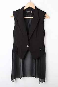 Coat made of cotton, featuring notched lapels, sleeveless styling, contrast chiffon to hem, tassel detail, all in slim fit.