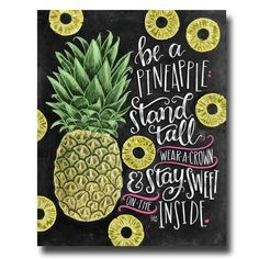 Pineapple Print, Pineapple Decor, Chalkboard Art, Chalk Art, Be A Pineapple, Pineapple Art, Tropical Wall Art