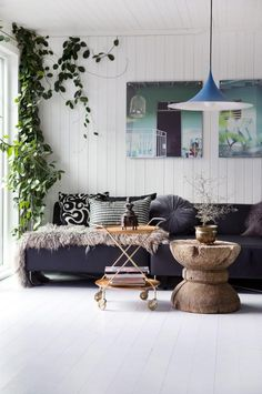 interior, home, decor, navy, sofa, planks, wood, nature, decorating, living room, fur throw