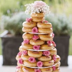 Doughnut wedding cake and Cinderollies foldable ballet flats for your bridesmaids sounds like a fairytale match made in heaven to us!