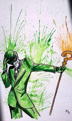 The Riddler Batman DC original comic art watercolor painting ml-art