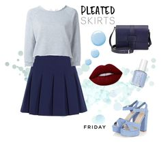 """""""Friday night wearing pleated skirt"""" by veronikap31685 ❤ liked on Polyvore featuring Diane Von Furstenberg, GaÃ«lle Bonheur, Salvatore Ferragamo, Topshop, Lime Crime and pleatedskirts"""