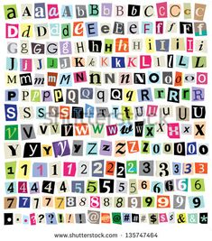 Over 200 vector cut newspaper and magazine letters, numbers, & symbols. Mixed uppercase and lowercase-multiple options for each one. Perfect design elements for a ransom note, creative typography, etc - stock vector Carta Collage, Letter Collage, Printable Stickers, Cute Stickers, Alphabet Stickers, Number Stickers, Kunstjournal Inspiration, Magazine Collage, Creative Typography