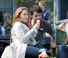 Matthew Goode and Amy Adams on the set of Leap Year. It looks like he's stealing her ice cream - a lucky camera angle!