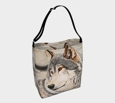 Awakened by the Sound of Play day tote handbag art 4 Photos, Pictures, Wolf Painting, Play Day, Timber Wolf, Wildlife Nature, Fashion Painting, Double Knitting, Tote Handbags