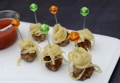 Spaghetti & Meatball Kabobs: Tailgating Food