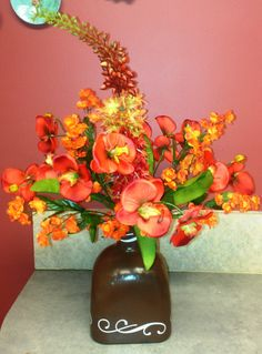 Hebe and Orchid Flower Arrangement by Irenia1900 on Etsy. , via Etsy.