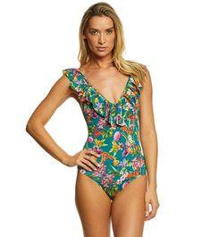 76fe92eee86 Jessica Simpson Eden Frill Shoulder One Piece Swimsuit Fun One Piece  Swimsuit, Swim Shop,