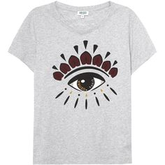KENZO Grey eye-print cotton T-shirt (£75) ❤ liked on Polyvore featuring tops, t-shirts, print top, cotton t shirts, grey top, kenzo and gray tees